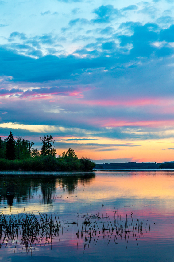 Alberta lake and Sunset